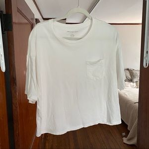 American Eagle Oversized Cotton White Crop Top